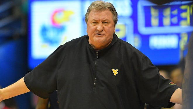 West Virginia Mountaineers head coach Bob Huggins reacts to a call during the second half against the Kansas Jayhawks at Allen Fieldhouse on Feb. 13.