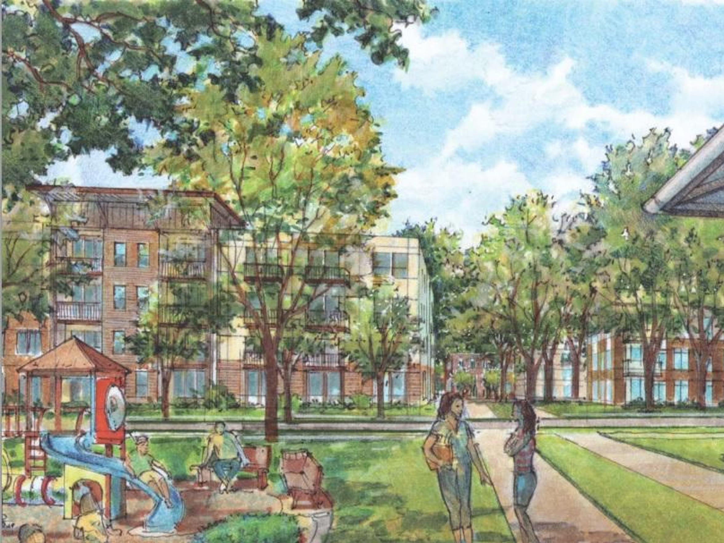 An artist's rendering shows the playground as part