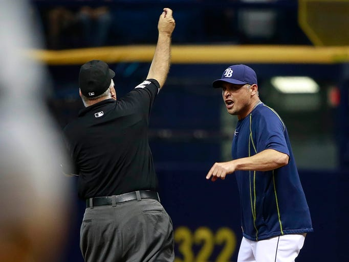 Aug. 28: First base umpire Brian O'Nora ejects Rays