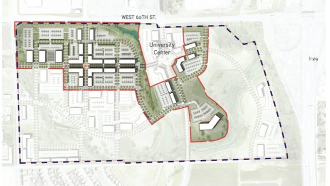 Aerial rendering of the USD Discovery District with borders of the 80-acre development site and the entire 252 acres controlled by the South Dakota Board of Regents now accessible with the restriction removed.
