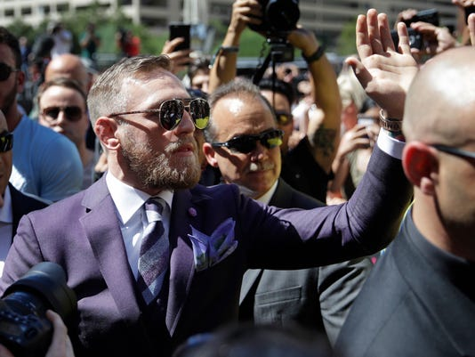 Conor McGregor meets with fans during the arrivals for a boxing match Tuesday, Aug. 22, 2017, in Las Vegas. McGregor is scheduled to fight Floyd Mayweather Jr. in a boxing match Saturday in Las Vegas. (AP Photo/John Locher)