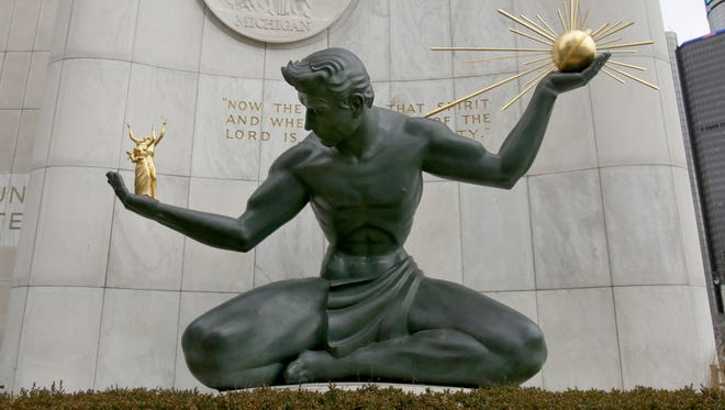 The Spirit of Detroit statue outside of the Coleman A. Young Municipal Center in January 2017 in downtown Detroit.