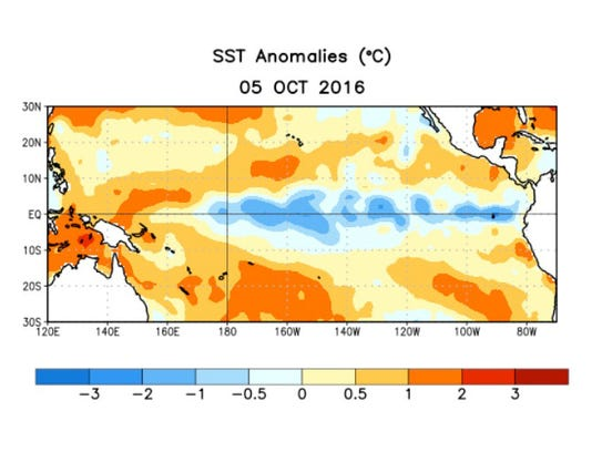 Sea-surface temperatures are cooler-than-average (in
