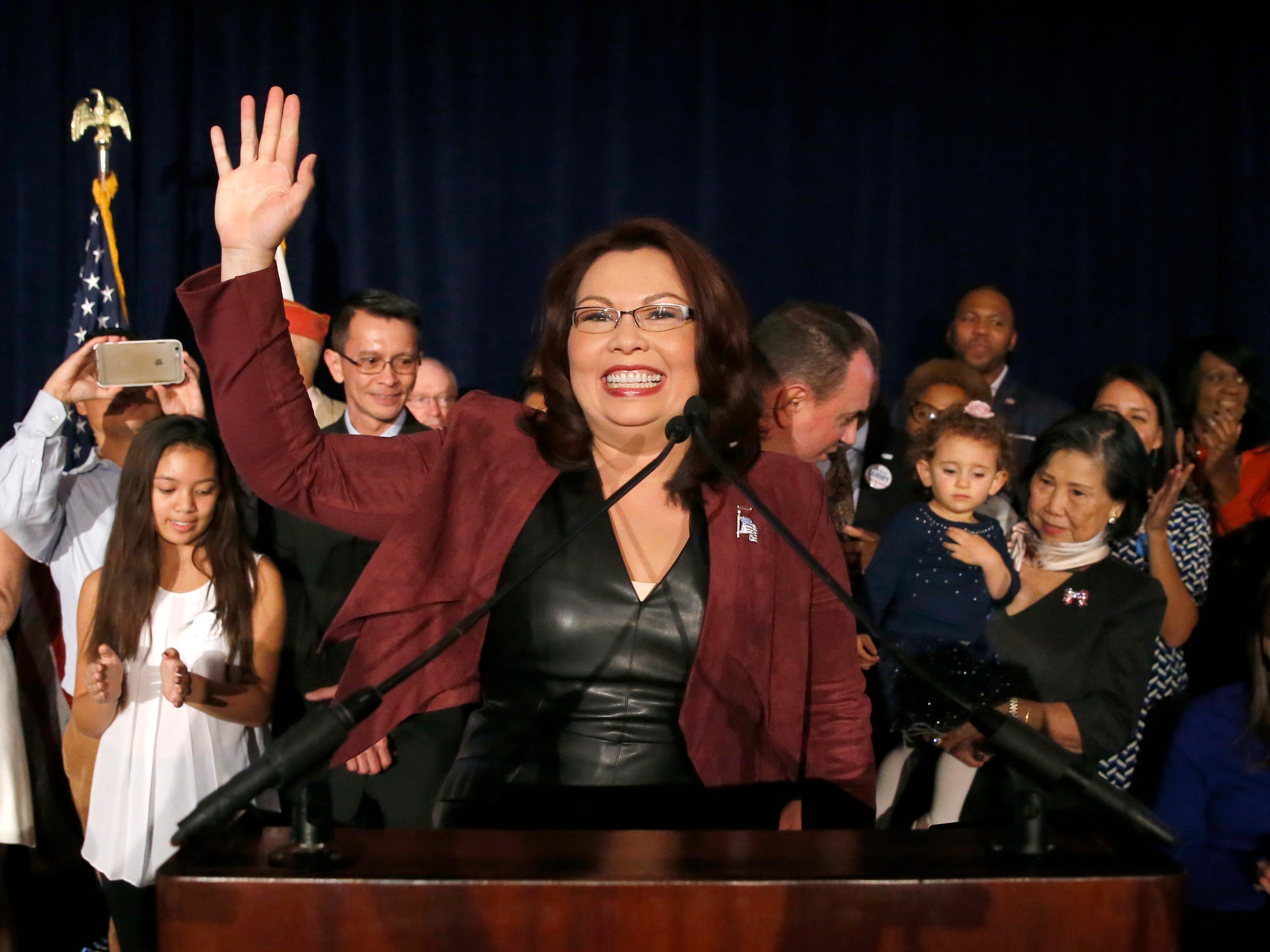 Tammy Duckworth celebrates her win over incumbent Sen. Mark Kirk, R-Ill., on Nov. 8, 2016, in Chicago.