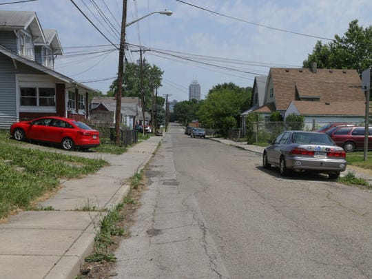 Part of the Indianapolis' Downtown is visible from Arizona Street, in the Old Southside neighborhood. The interstate highway separated the neighborhood from Fountain Square back in the 1960s and '70s.