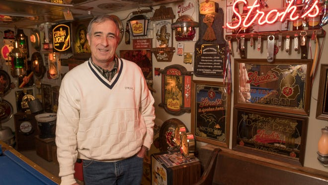 Allan Ruth's collection of Stroh's memorabilia fills his basement.