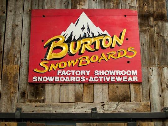 Burton snowboards' original sign on display at the company's headquarters in Burlington.