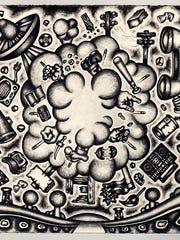 """Jason Stout's """"Offline Instant Messenger Gale,"""" charcoal"""