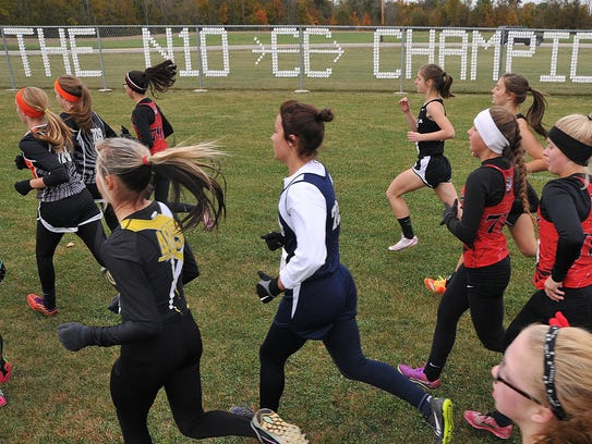 The start of the girls Cross Country Northern 10 Championships
