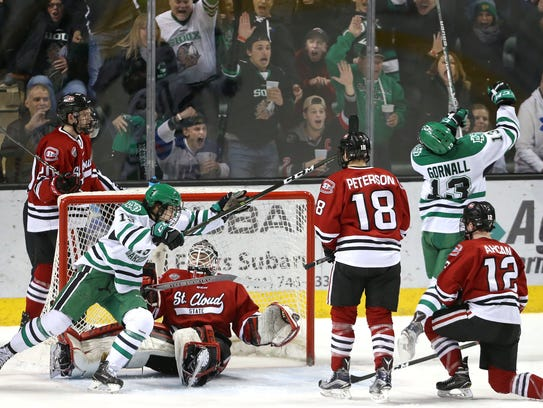 UND fans react to Mike Gornall's goal in the second