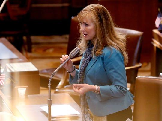 Sen. Kim Thatcher speaks before Sine Die to adjourn the 2016 legislative session at the Oregon State Capitol in Salem on Thursday, March 3, 2016.