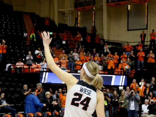 Oregon State senior Sydney Wiese (24) waves to the crowd following the Creighton vs. Oregon State women's basketball game, her final game at Gill Coliseum, in the second round of the NCAA Division I Championship in Corvallis, Ore., on Sunday, March 19, 2017. Oregon State won the game 64-52 and will go on to play Florida State on March 25.