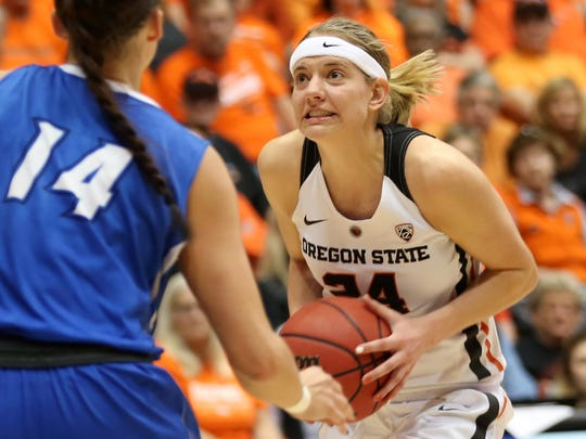 Oregon State's Sydney Wiese (24) eyes the basket past Creighton's Sydney Lamberty (14) in the Creighton vs. Oregon State women's basketball game in the second round of the NCAA Division I Championship in Corvallis, Ore., on Sunday, March 19, 2017. Oregon State won the game 64-52 and will go on to play Florida State on March 25.