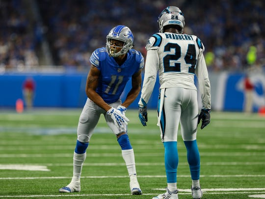 Lions receiver Marvin Jones Jr. lines up against James Bradburry in the first half of the Lions' 27-24 loss to the Carolina Panthers at Ford Field on Sunday, Oct. 8, 2017.