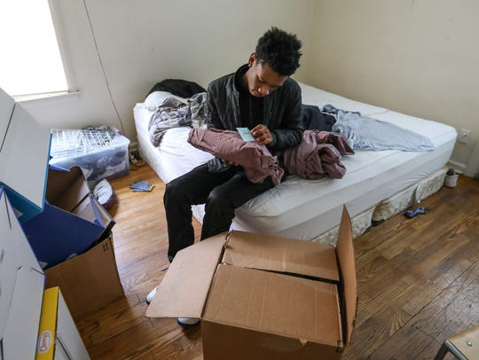 Christopher Robinson, 14, of Detroit goes through a
