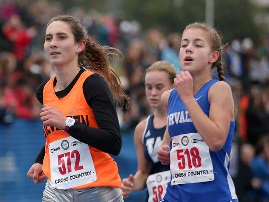 Silverton's Jori Paradis, left, competes in the OSAA