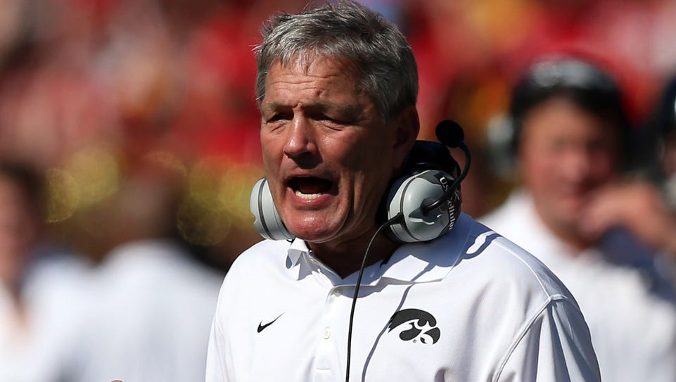 Iowa coach Kirk Ferentz must replace both tackles on