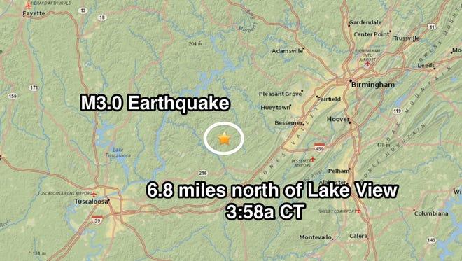 A magnitude 3.0 earthquake hit Lake View, Alabama, Friday morning.