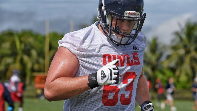 Florida Atlantic right guard Nick Weber was placed on scholarship Friday morning.