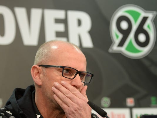 """FILE - In this Jan. 4, 2016 file picture Hannover coach Thomas Schaaf  attends a news conference in Hannover, Germany. Struggling Bundesliga side Hannover fired Thomas Schaaf as coach in a bid for top-flight survival on Sunday April 3, 2016.  Hannover said in a statement the decision was taken following """"intensive analysis"""" by club chief Martin Kind and sporting director Martin Bader involving Schaaf, and that former under-19 coach Daniel Stendel was to take over to the end of the season. (Julian Stratenschulte/dpa via AP,file)"""