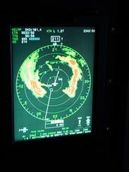 The radar on a WC-130J Super Hercules aircraft shows