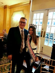 Mayor Michael Gonnelli of Secaucus with Paris Keswani, who was crowned Mrs. India Earth International.