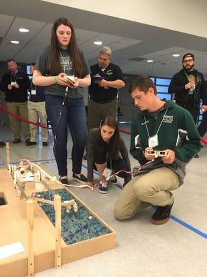 Three Kinnelon High School Engineering students have advanced to the final round of the  2017 Panasonic Creative Design Challenge, hosted by NJIT. The students, Meghan Andersen, Cayla Mandel and Teo Waalberg are 2016's champions and are moving forward to defend their crown.