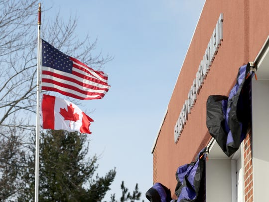 A Canadian flag was brought down to the Geneseo Fire