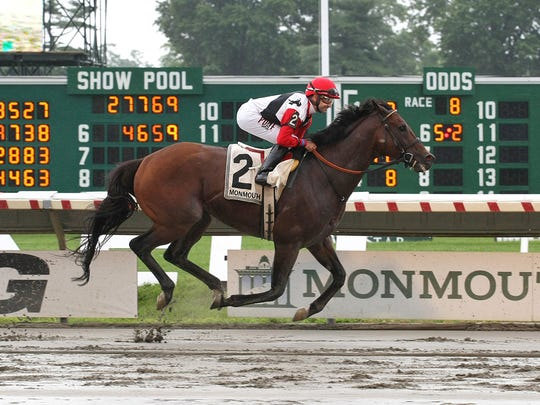 Bradester, with Joe Bravo riding, won the $200,000 Grade II Monmouth Cup at Monmouth Park on Sunday.