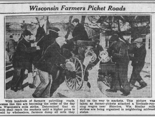 Sheboygan Press photos of milk being dumped outside