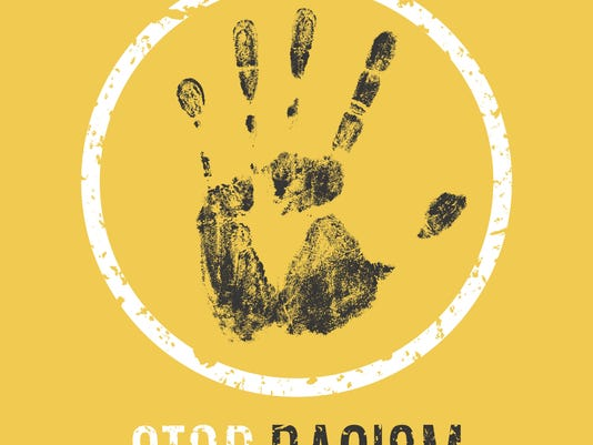 stop rasism vector sign in grunge style