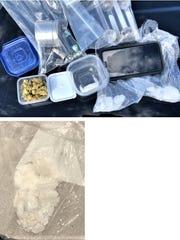 Crystal methamphetamine, marijuana and pipes were seized