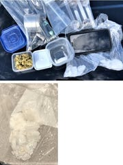 Crystal methamphetamine, marijuana and pipes were seized by El Paso police.