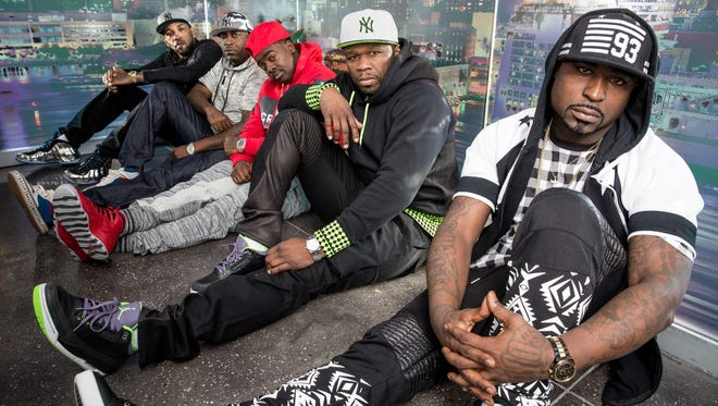 (L-R) G Unit members: Lloyd Banks, Tony Yayo, Kidd Kidd, lead rapper 50 Cent and G Unit member Young Buck, in New York on Feb. 19, 2015.