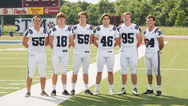 St. Thomas More defensive leaders include Ethan Broussard (55), James Brauns (18), Peyton Broussard (34), Logan Klusman (95), Aaron Monrose (59) and William Waguespack (46).