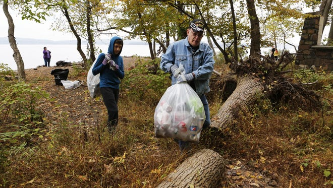 Harvey Gultz of Chestnut Ridge, 69, and his great-nephew Nicholas Martino, 14, of Nanuet join the Keep Rockland Beautiful cleanup at a beach in Haverstraw last year.