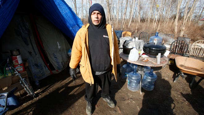 Frankie Pinero, 51, has been living on the waterfront in Haverstraw for the past 2 years he says during a the annual homeless point in time count in Rockland on Jan. 26, 2017.  Pinero gets by on fishing and fixing bicycles for money as well as local support.