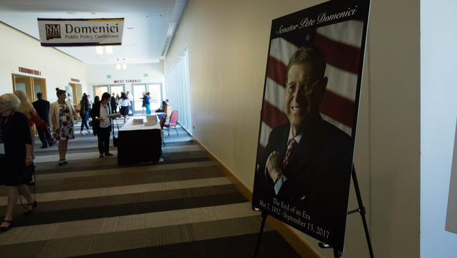 A memorial picture of former Sen. Pete Domenici was placed outside the exhibition halls  at the Las Cruces Convention Center, where the 10th Domenici Public Policy Conference was held Wednesday. September 13, 2017.