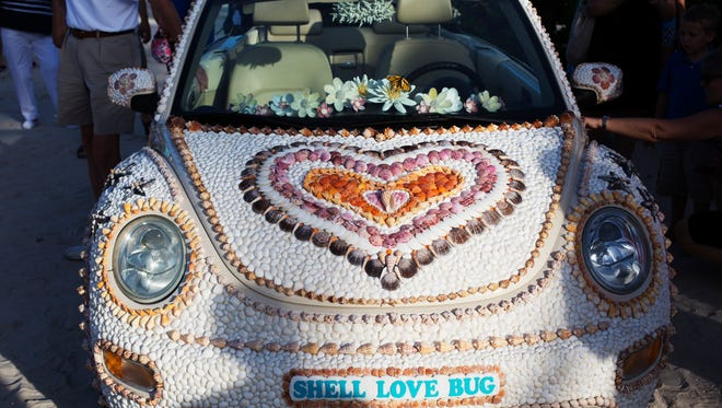 The Shell Love Bug was unveiled on June 19, 2016, on National Seashell Day on Sanibel Island. The Lee County Visitor and Convention Bureau sponsored the event. Pam Rambo, along with volunteers, glued the shells to the car. Rambo claims the county promised to give her the car. Her company has sued Lee County in U.S. District Court. She also claims that by continuing to display the vehicle in public, the county has violated her copyright on the design. The News-Press tried to get access to the car to get photos of what it looks like in 2018 but was denied. The car is covered and is not available for public or media inspection at this time since the design of the shells attached to the car is involved in a copyright lawsuit.