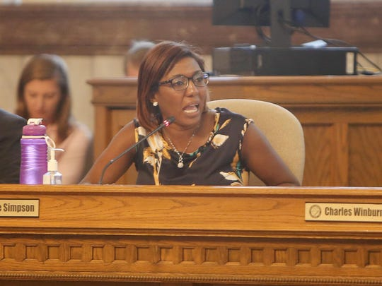 Yvette Simpson speaks during a Sept. 9 Cincinnati City Council meeting. Simpson says Mayor John Cranley's State of the City address should've addressed the shooting of Samuel DuBose, and said more about the streetcar, poverty reduction and community policing