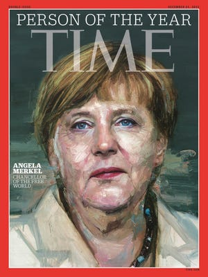 In this image provided by Time Magazine, Wednesday, Dec. 9, 2015, German Chancellor Angela Merkel is featured as Time's Person of the Year. The magazine praises her leadership on everything from Syrian refugees to the Greek debt crisis.
