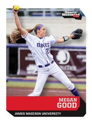 The front of a trading card of James Madison's Megan Good that appeared in the August 2017 edition of Sports Illustrated Kids.