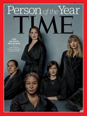 """This image obtained Dec. 6, 2017, courtesy of Time magazine, shows the 2017 Time Person of the Year: """"The Silence Breakers"""". Time magazine named The Silence Breakers who revealed the pervasiveness of sexual harassment and assault across various industries that triggered a national reckoning as Person of the Year."""""""