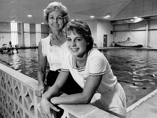 Coach Betty Perkins-Carpenter, left, and Olympian Wendy Wyland in this 1982 photo.