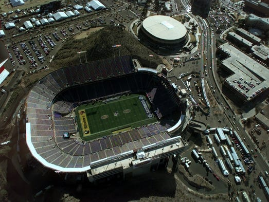 The Dallas Cowboys and Pittsburgh Steelers will meet at Sun Devil Stadium, shown in this aerial view Saturday Jan. 27, 1996,  for Super Bowl XXX.