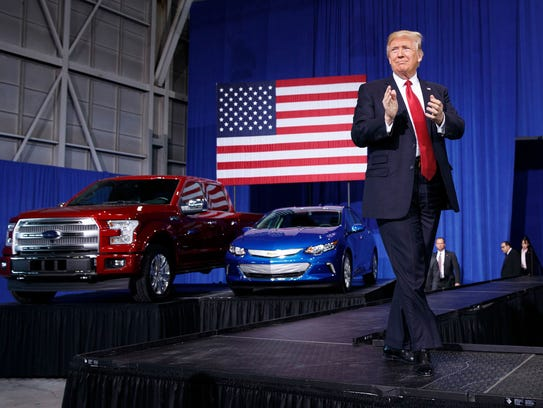 President Donald Trump arrives to speak at the American