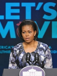 First Lady Michelle Obama speaks on the findings of the Childhood Obesity Task Force report May 11, 2010.