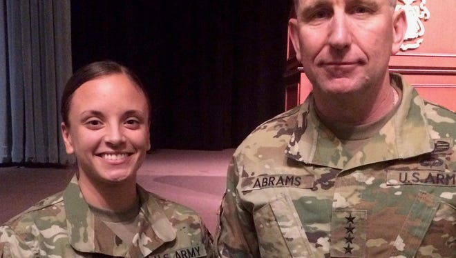 Alexandra L. Resendez (left), recently received the George C. Marshall Award. She is pictured with Gen. Robert Abrams, U.S. Army Forces Command commander.