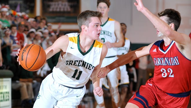 Christ School senior Matt Halvorsen (11) and the Greenies have a couple big Carolinas Athletic Association games this week as well as Friday's home date with national powerhouse Oak Hill Academy (Va.).