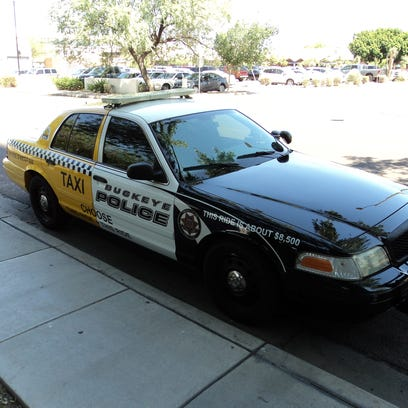 The Buckeye Police Department has recycled an old police cruiser to help drive home a DUI prevention message in advance of the Fourth of July weekend. Police transformed an old Ford Crown Victoria into half police car, half taxi. The police side says a DUI will cost about $8,500, while the cab side says a ride is about $50.